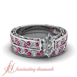 1.15 Ct Marquise Cut Diamond And Pink Sapphire Archaic Style Wedding Rings Set Si1