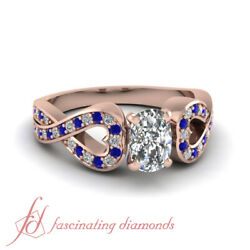 3/4 Ct Cushion Cut Natural Diamond And Sapphire Pave Set Womens Engagement Ring
