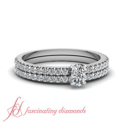 .90 Ct Cushion Cut Genuine Diamond Engagement Rings Sets For Women 14k Gold Gia