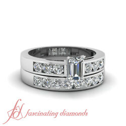 .90 Ct Emerald Cut Untreated Diamond Dainty Shimmer Womens Gold Engagement Ring