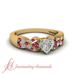1 Ct Sapphire Interlocked Diamond Rings Pave Set With Heart Shaped Yellow Gold
