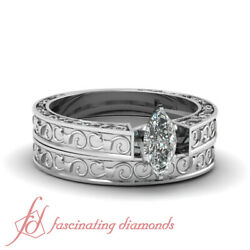 Vintage Style Solitaire Wedding Rings Set 0.50 Ct Marquise Very Good Cut Diamond