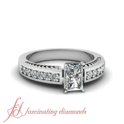 Hand Engraved Pave Set Engagement Ring 0.90 Ct Radiant Cut Diamond Si1-d Color