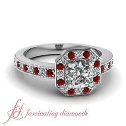 .85 Ct Round Cut Conflict Free Diamond And Ruby Engagement Rings For Women Halo
