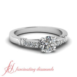 .60 Ct Round Cut Si1 Diamond Cathedral Pave Set Gold Engagement Rings For Women