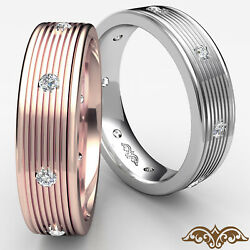 Dome Eternity Wedding Band 18k White Gold Round Diamond Mens Solid Ring 0.16ct