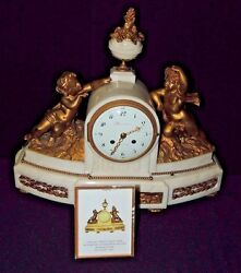 Rare 1800s Charles-guillaume Maniandegravere Active Marble And Gilt Bronze Mantel Clock