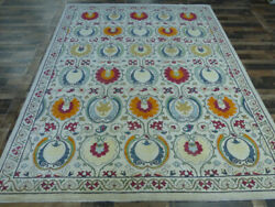 9'x12' New Finest Ikat Arts And Crafts Hand Knotted Wool Peshawar Suzani Area Rug