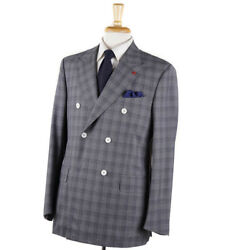 Nwt 4195 Isaia Gray Check Lightweight Super 150s Wool Suit 40 R Eu 50