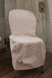 Chair Slipcover Antique French Red And White Striped Ticking Fabric Cir.1900 Faded