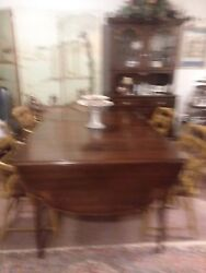 Hitchcock Dining Room Table And 4 Captains Chairs 1983 Org. Owner-drop Leaf-