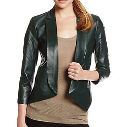 Rebecca Minkoff Womenand039s Noble Green Open-front Ace Leather Jacket 598 Nwt