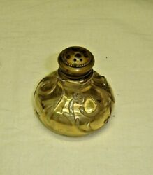 Antique Gold Overlay Shaker With Brass Lid.  7527