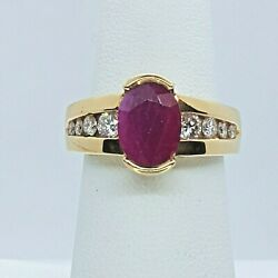 14k Ruby And Diamond Fashion / Cocktail Ring