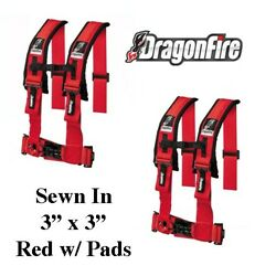 2 Sand Rail Car Dragonfire H-style 4 Point Sewn In Style Harness Red 3 W/pads