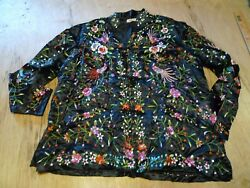 Vintage Plum Blossoms /chinese Made/ Multicolor Embroidered Jacket Top Size 42
