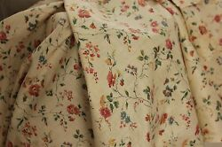Fabric Antique French trailing vine amp; floral block printed cotton material c1900