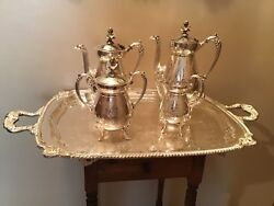 Rare Rogers Bros 1800andrsquos Egyptian Revival Silverplate Teaset W/tray