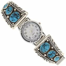 Navajo Lrg Turquoise Nuggets Mens Watch W Stretch Band S7-8.5 By Tom Ahasteen