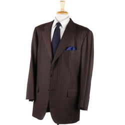 Nwt 9650 Kiton Brown And Gold Stripe 100 Cashmere Suit 48 L Eu 58