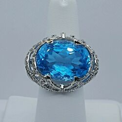 Incredible Swiss Blue Topaz And Diamond 14k White Gold Right Hand Ring