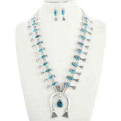Native Navajo Sterling Silver Turquoise Squash Blossom Necklace Earrings Set