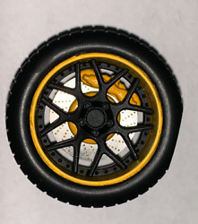 118 AB Models Wheels and Tires Set Sky Forged Wheels Yellow Black AB1007A