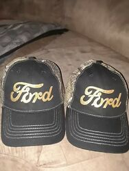 NEW WOMEN'S BLACK FORD CAMO AND GOLD LOGO BASEBALL CAP  ADJUSTABLE (SET OF 2)