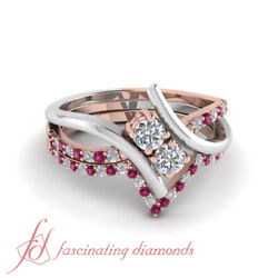 .85 Ct Round Diamond Bridal Ring Sets With Sapphire In White Gold And Pink Gold