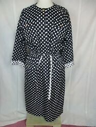vintage Leslie Fay Collections polka dot dress 14 blue and white