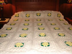 New Yellow Flower Designed Handcrafted Crochet Afghan Throw Blanket