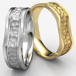 7mm Bone Style Hammered Finish Menand039s Womenand039s Comfort Fit Gold Wedding Band Ring