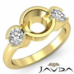 Excellent Diamond 3 Stone Engagement Ring Round Semi Mount 18k Yellow Gold 0.6ct