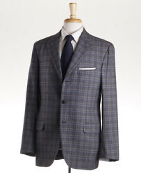 Nwt 5995 Brioni Charcoal-tan-blue Check Fall/winter Flannel Wool Suit 40 R