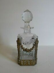 French Antique Bronze Mounted Etched Crystal Cologne / Perfume Bottle