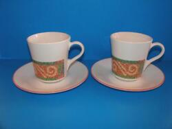 4 Sand Art By Corning Corelle Mug / Cup And Saucer Sets Geometric