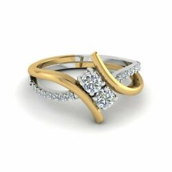 Round Cut Diamond 3/4 Karat Modern Twisted Two Tone Engagement Rings For Her