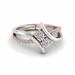 3/4 Carat Two Stone Round Cut Diamond Mixed Gold Womens Engagement Ring 14k