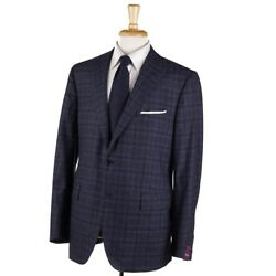 Nwt 3795 Sartoria Partenopea Modern-fit Blue-gray Check Wool Suit 42 R