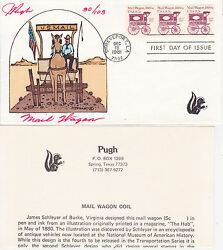 Pugh Hand Painted First Day Cover Fdc 1981 Mail Wagon Issue Multi-stamp Cover