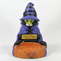 Stone Bunny Inc Cat In Witch Costume 8 Figurine Candy Dish Halloween Stein 2005
