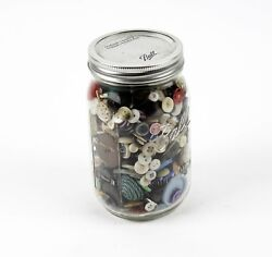 Big Lot Of Antique And Vintage Collectible Sewing Buttons In Ball Glass Jar W/lid
