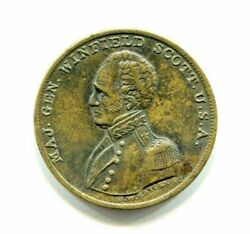 1852 Campaign Token Medal Gen. Winfield Scott Wounded At Lundy's Lane 28mm Nice