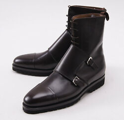Nib 3650 Kiton Brown Leather Double-buckle Monk Strap Ankle Boots Us 9.5 Shoes