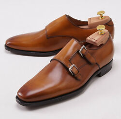 Nib 3050 Kiton Antiqued Tan Leather Double-buckle Monk Strap Us 9.5 Dress Shoes