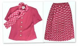 Leslie Fay Womens 8 Pink White Vintage Skirt Suit Pleasted Blazer Polka Dot L3