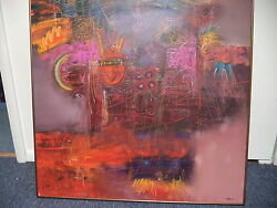 New Mexican Abstract Artist Terry Craig Signed Original Oil And Pris Large 36x48