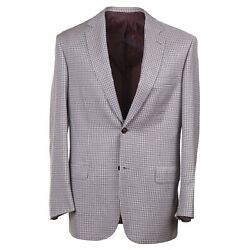 Brioni 'colosseo' Burgundy And Sky Blue Layered Check Wool Sport Coat 40r