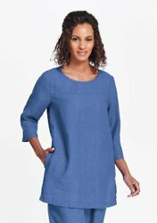 FLAX  Designs  LINEN  Top Seam  Tunic Shirt    M   &  L    NWT  2018  LAPIS