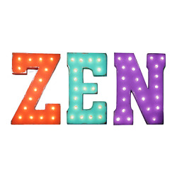 Zen Sign Light Up Rustic Vintage Style Metal Marquee Sign Calm Relax Meditate